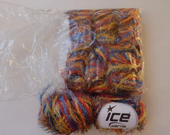 8 skeins of 100% polyester red blue yellow fur appearance