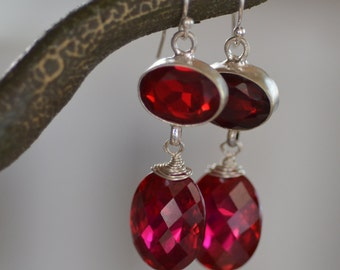 Red Topaz Earrings. AURORA RED Sterling Silver Earrings. Large Gemstone Earrings. Silversmith. Luxury Statement Fine Jewelry.