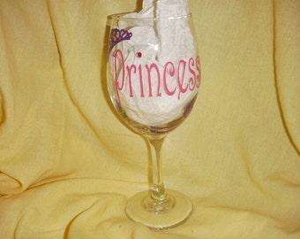 Princess wine glass with crown and gems Custom Made