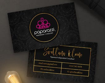 Paparazzi jewelry business card digital download paparazzi business cards free personalized paparazzi jewelry consultant card black goldpink reheart Image collections
