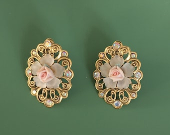 Vintage Rose earrings with ab crystals