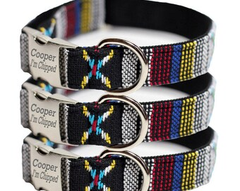Engraved Dog Collar - Tribal, Navajo Dog Collar - Personalized Woven Yakima