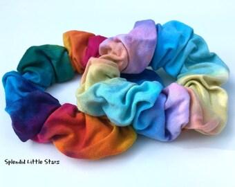 Cotton Scrunchie, tie dye, tie dye scrunchie, rainbow scrunchie, bright rainbow, pastel rainbow, ponytail, hand dyed, soft for hair