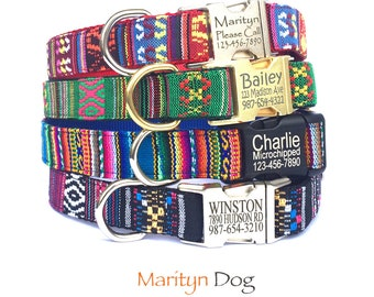 Personalized dog collar Laser engraved dog collar Pet Id collar Navajo Tribal Boho embroidery dog collar  Boy girl dog collar Marityn Dog