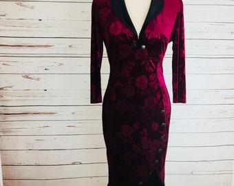 Women's  Dress Size Small Red Velvet Stretch Evening Glamorous Dress;  Bring glamour back!
