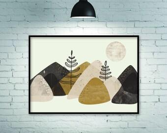 Horizontal print, horizontal poster, horizontal art, large wall art, large print, minimalist print, minimalist art, mountains print, giclee