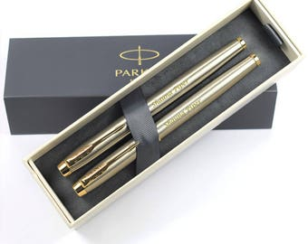 Personalised, Engraved Parker IM Brushed Metal & Gold Rollerball and Fountain Pen Set - Personalised Birthday Gifts (1931663-1931656)