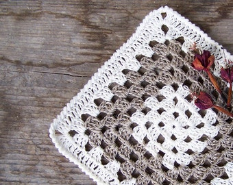 Crochet linen coasters set of 4, Granny square white grey, Rustic, natural, Ready to ship
