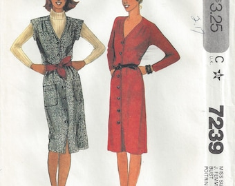 1980s Pinafore Dress or Jumper Cap Sleeves Pleated Shoulders Front Buttoned V Neckline Belted Patch Pockets McCalls 7239 Size 16 Bust 38