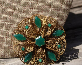 Antique Brass Art Nouveau Round Floral Broach with Green Stones Signed Czechoslovakia