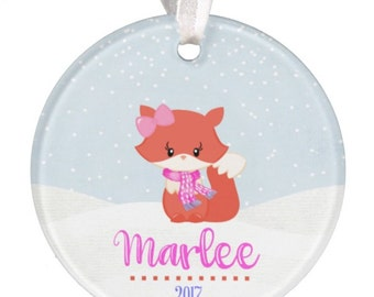 Baby Ornament Fox Ornament Baby Gift Christmas Ornament Personalized Christmas Ornament Baby Girl Ornament Girl Ornament Baby RyElle