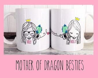 Best Friend Long Distance Coffee Tea Customized Mother of Dragons Mug Set