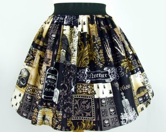 Edgar Allen Poe Inspired Pleated Skirt