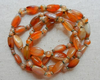 "Vintage Boho 1960s Endless 49"" East Indian, Red, Orange, Cream, Brown & Yellow Carnelian Agate Bead Necklace With Gold Thread Wrapped Knots"