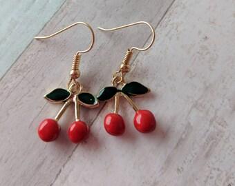 Cherry earrings, rockabilly earrings, fruit earrings, fruit jewelry, food earrings, food jewelry, gifts for her, novelty earrings,