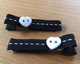 SALE hair clips - black, white, white heart button - baby girl, child