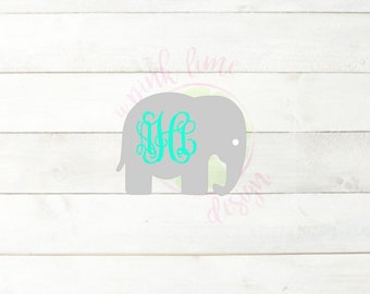Elephant Monogram Vinyl Decal