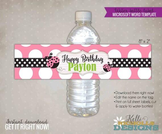 Pink Ladybug Water Bottle Label Template Custom Ladybug