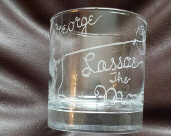 Hand etched mixer glass inspired by It's a Wonderful Life