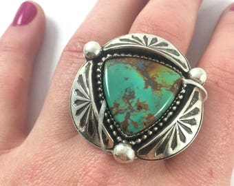 Handmade Sterling Silver Bohemian Turquoise Stamped Ring or Pendant Boho Gypsy Hippie Festival Free Spirit