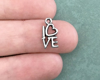 10 Silver Love Word Charms 14mm x 8mm Love Heart Antique Silver Tone