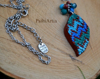 Polymer clay pendant Polymer clay necklace Long necklace Gift for her Colorful pendant One of a kind necklace OOAK Polymer clay creations
