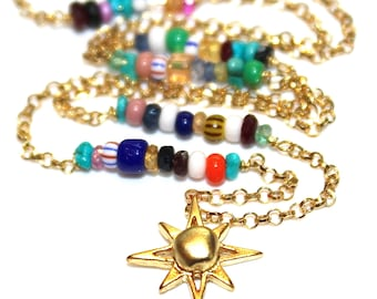 North Star Charm Necklace Star Necklace Multicolor Necklace Rainbow Necklace Stacking Necklace Charm Jewelry Beach Necklace Fun Trendy
