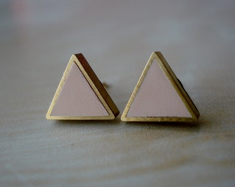 natural beige small brass triangle stud earrings