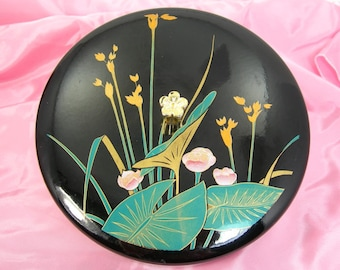 Japanese Vintage Lacquerware Box - Jewelry Box - Candy Container - Black with Flowers and Cinnabar Red Interior - Vanity Trinket Box