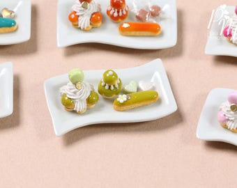 MTO-Classic French Pastries on  Plate - St Honoré, Religieuse, Eclair - Pistachio Selection - Miniature Food for Dollhouse 12th scale