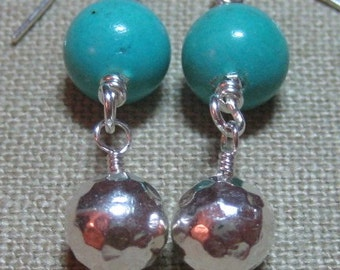 Sleeping Beauty Mine Turquoise & Hammered Sterling Earrings - E616