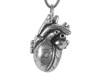 Anatomical Heart Locket with Small Glass Bottle, Bleeding Hearts, Heart Necklace, Handmade Jewelry, Pendant, Sterling Silver Heart Locket