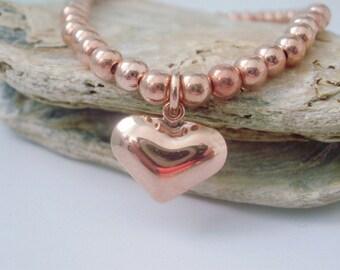 Rose Gold Bracelet, Beaded Charm Bracelet, Heart Charm, Stacking Bracelet, Stretch Bracelet, Gift for Women, Wedding Jewellery, handmade