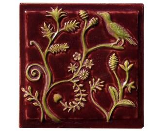 """Persian Ceramic Tile in Burgundy Glaze (6"""" x 6"""")"""