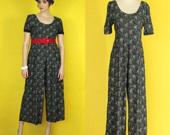 Vintage 90s Jumpsuit - Black and White Floral Jumpsuit - Wide Leg Jumpsuit - Short Sleeve Jumpsuit - All that Jazz Jumpsuit - Size Medium