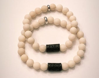 His and Hers Lava and Jasper Bead Bracelets