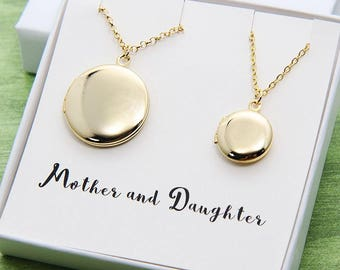 Mothers Day Gift for Daughter Mom, Gold Locket, Locket Necklace, Mother Daughter Locket Necklace, Two Gold Round Locket, Set of Two Necklace