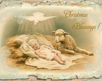 Christmas Gift Card Tag Baby Jesus in Manger with Lamb and Doves Greeting Blessings Digital download Printable