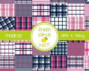 Madras Digital Paper  Pink and Navy Digital Paper Plaid Paper Single Sheet