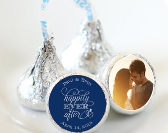 108 Photo Hershey Kiss® Stickers - Hershey Kiss Stickers Wedding - Personalized Hershey Kiss Labels - Happily Ever After Photo Kiss Seals