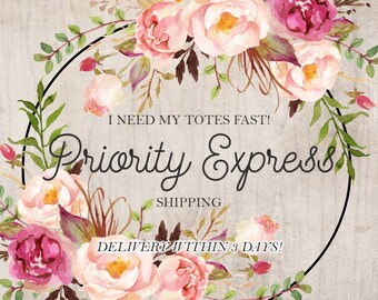 Priority Express Shipping Tote Bag Tote bag shipping Natural Tote bag Floral Tote bag Express shipping