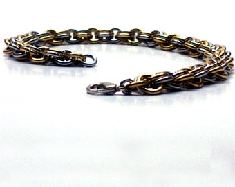 Steampunk Bracelet, Alternating Bronze and Aluminum Double Cable Chainmaille, Steampunk Jewelry, Bronze Jewelry, Bronze Bracelet,