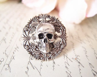 Mort-- skull Ring-adjustable-steampunk-Victorian-edgy chic- statement-armor ring VS029