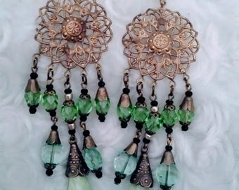 "Antique art deco Egyptian revival green czech glass earrings 5"""