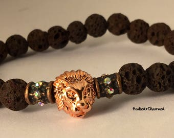 Rose Gold Lion Lava Beads Bracelet