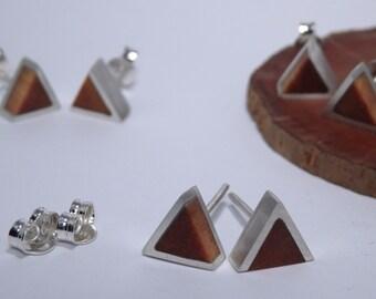 Silver triangle earrings and Araucaria wood