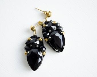 Black evening earrings  Statement earrings  Crystal earrings  Gold black jewelry  Party earrings  Embroidery beadwork  Bridesmaid earrings
