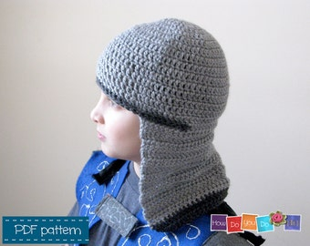 PDF Crochet Pattern Knight Helmet, Knight Winter Hat for boy, Beanie for boys, Instant Download PDF Pattern, Beginner Crochet Photo Tutorial