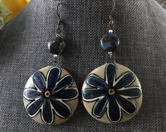 Large Round Contured Porcelain Earrings with Handpainted Floral Design on Sage