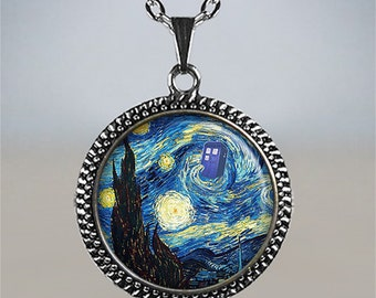 Starry Night Tardis pendant, Tardis necklace, Dr Who necklace, Tardis jewelry, Whovian jewelry, Dr Who pendant, Dr Who geekery gift